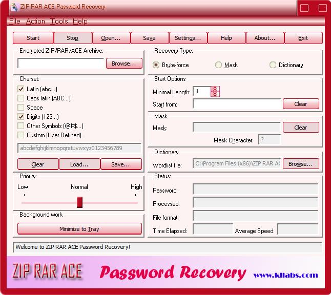 kllabs ZIP RAR ACE Password Recovery